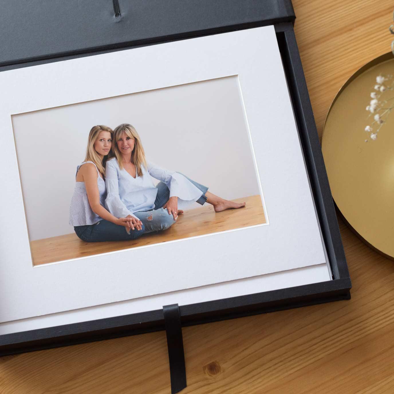 caja portfolio para foto con paspartu